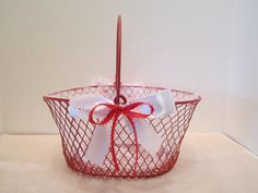 Flower Girl Basket - Red Wire Basket - Christmas Season Wedding Decor - Dressed Up and Wedding Ready - OOAK