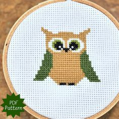 Baby Owl Small Cross Stitch Pattern for beginners. $4.00, via Etsy.
