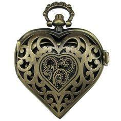 Steampunk Pocket Watch Pendant - Vintage Style Heart With Filigree Lid 46x41mm $13.99