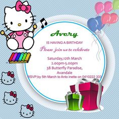 Hello Kitty Nd Birthday Invitation Template  Hello Kitty