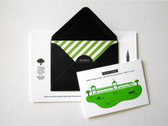 Erin-Jang-Modern-Black-White-Green-Stripe-Wedding-Invitations