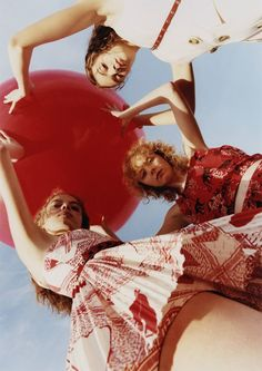 Adrienne Juliger, Lily Nova and Mariana Zaragoza for Red Valentino SS18 Beauty Shoot, Red Balloon, Balloons, Beauty Editorial, Editorial Fashion, Red Campaign, Spring Summer 2018, Looking For Women, Latest Fashion Trends