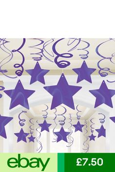 Amscan Party Decoration Home, Furniture & DIY Star Decorations, Hanging Decorations, Shooting Stars, Swirls, Purple, Party, Diy, Home Decor, Furniture