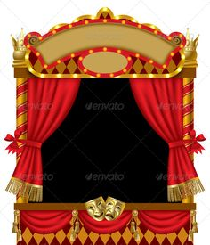 Buy Puppet Show Booth by romay on GraphicRiver. Raster version of vector image of the illuminated puppet show booth with theater masks, red curtain and signboards Toy Theatre, Theatre Stage, Theater Masks, Fun Places For Kids, Disk Image, Puppet Show, Show Booth, Party Places, Red Curtains
