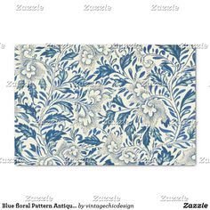 Shop Blue floral Pattern Antique Vintage Tissue Paper created by vintagechicdesign. Wood Painting Art, Painting Prints, Vintage Floral Backgrounds, Paper Napkins For Decoupage, Decoupage Ideas, Black And White Flowers, Red Black, Custom Tissue Paper, Flower Graphic