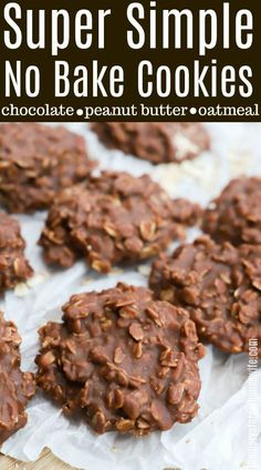 Easy No Bake Cookies are simple, oatmeal chocolate cookies that don't require baking time! I've tried many & this peanut butter no bake cookies recipe is the absolute BEST. from FAMILY COOKIE RECIPES No Bake Desserts, Easy Desserts, Delicious Desserts, Dessert Recipes, Yummy Food, Delicious Cookies, Keto Desserts, Heart Healthy Desserts, Healthy Christmas Treats