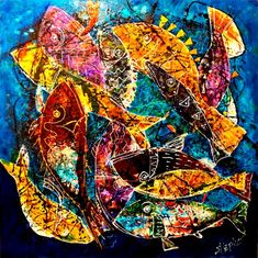 Android fishes - Blue, mix media , size 100 x 100 cm on linen canvas, year 2016 Glow Effect, Golden Leaves, Contemporary Paintings, Metal Art, Canvas Size, Mercury, Mixed Media, Stainless Steel