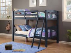 If your little one has a passion for blue, he or she is going to love our fun childrens bunk beds. In addition to a charming navy blue finish that instantly enlivens the room, this bunk bed just might