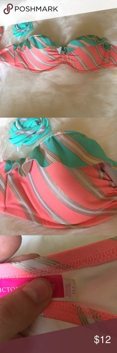 Coral & Aqua Ruffle Bandeau top Aqua ruffle with coral and gold pin stripes. Convertible and comes with straps. Padded and has adjustable closure. Victoria's Secret Swim Bikinis
