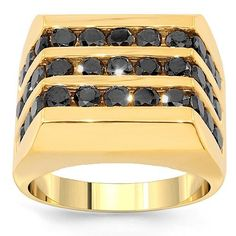14K Yellow Gold Mens Black Diamond Pinky Ring 2.50 Ctw: Avianne & Co: Jewelry