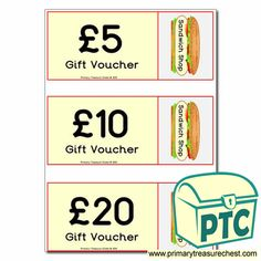 Sandwich Shop Role Play Resources - Primary Treasure Chest Voucher, Sandwich Shops, Role Play, Treasure Chest, Sandwiches, Crafts For Kids, Restaurant, Foods, Activities