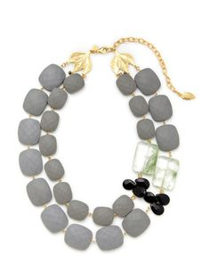 David Aubrey Gold, Grey Resin, & Agate Necklace