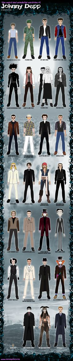 Every iconic Johnny Depp outfit, in one handy infographic AWESOME!!!
