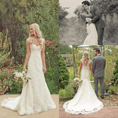 Vintage 2014 Mermaid Lace Wedding Dresses Sweetheart Spaghetti Sleeveless Zipper Back Sweep Train Sweep Train Beach Garden Bridal Gowns