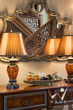 roger wade studio interior design photography of entry table and lamps with twig railing, traditional home, banner elk, north carolina, by t...
