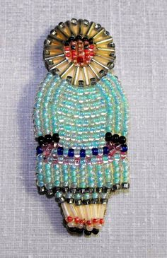 Authentic Alaskan native hand crafted beaded brooch on leather. Native American Regalia, Native American Beadwork, Bead Crafts, Arts And Crafts, Beadwork Designs, Bead Sewing, Native Beadwork, Beaded Brooch, Beaded Ornaments