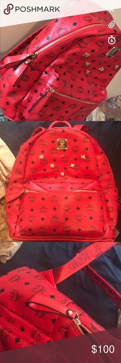 RED MCM BOOKBAG red leather MCM bookbag MCM Bags Backpacks