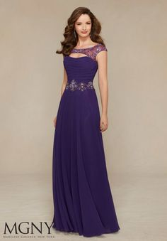 Chiffon with Beaded Embroidery Evening Gown/Mother of the Bride Dress Designed by Madeline Gardner. Matching Stole. Colors available: Blush, Grape, Teal.