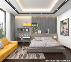 Teen-Boy-Can-Teen-Boy-Can-Phong-Phong - Ceiling design House Ceiling Design, Ceiling Design Living Room, Bedroom False Ceiling Design, Modern Bedroom Design, Home Room Design, Master Bedroom Design, Hotel Inspired Bedroom, Plafond Design, Suites