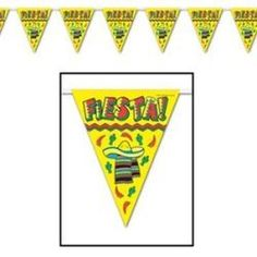 Banner Pennant Fiesta (25cm High x 3.65 Metres Long) all weather plastic, 12 pennants along length of banner BE50021