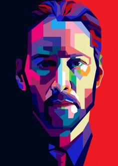 John Wick Pop Art Portrait by Cholik Hamka Murals Street Art, Graffiti Art, Pop Art Portraits, Portrait Art, Arte Pop, Comic Kunst, Comic Art, Print Artist, Artist Art