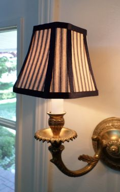 French Country or Country Chandelier Shade in a Blue Pillow Ticking Fabric French Country Lighting, French Country Chandelier, Chandelier Light Shade, Chandelier Lighting, House Lighting, Ceiling Fixtures, Light Fixtures, Ticking Fabric, Custom Shades