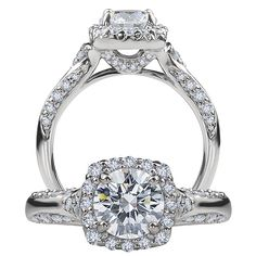 Modern diamond engagement ring featuring a prong set round cut center stone that is surrounded by a square micropavé halo and micropavé diamonds on the undergallery.  Finishing this ring are the two rows of micropavé diamonds that adorn half of the solid metal shank.