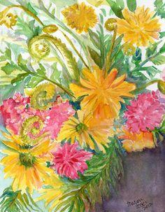 Flowers, original watercolor painting  original Yellow daisies and pink blooms Flower ART