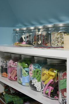 Great storage and organization for your craft room Craft Room Storage, Craft Organization, Storage Ideas, Jar Storage, Craft Rooms, Closet Organization, My Sewing Room, Sewing Rooms, Space Crafts