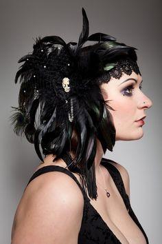 gothic flapper burlesque feathers, lace, swarovski headdress - £54.99 http://www.emeraldangel.co.uk/feather-lace-headdress.html