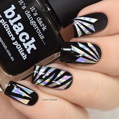 We are obsessed with this black and holo broken glass nails by @sveta_sanders. Yay or nay? #glassnails #holonails