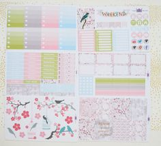 Cherry Blossoms weekly kit / Erin Condren weekly kit Erin Condren Life Planner, Cherry Blossoms, Planner Stickers, Bloom, Kit, Cherry Blossom, Japanese Cherry Blossoms
