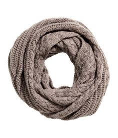 Taupe. Cable-knit tube scarf in a wool blend. Width 18 in., circumference 59 in.