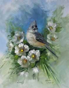 Titmouse And Blossoms Painting