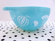 Vintage Pyrex 1950s Turquoise Hot Air Balloons 1.5 Pint Dip Bowl on Etsy, $38.00