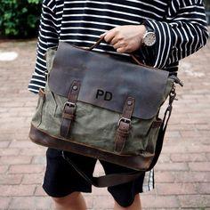 cf3962e708b Handmade Waxed Canvas Messenger Bag Mens Laptop Briefcase Cross Body Bag  Courier Bag Canvas Leather Satchel Bag Christmas Gift ideas