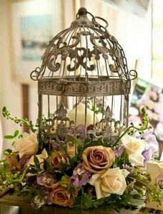 Vintage birdcage centrepiece - Wedding Flowers - The Traditional Vintage Flower Company :: Creating Bespoke Floral Arrangements, serving Essex, Herts, Suffolk, Kent and the East of London Bird Cage Centerpiece, Deco Nature, Flower Company, Deco Floral, Centre Pieces, Flower Fashion, Vintage Flowers, Silk Flowers, Floral Arrangements