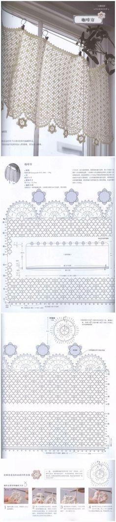 堆糖 发现生活_收集美好_分享图片.   Kitchen curtain pattern.   Different edgings. Place for rod Filet Crochet, Crochet Motif, Irish Crochet, Crochet Doilies, Crochet Lace, Crochet Stitches, Crochet Hooks, Crochet Patterns, Crochet Decoration