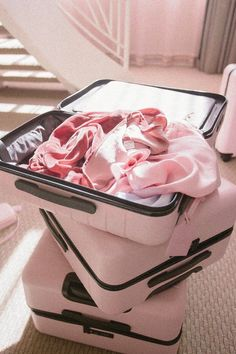 aesthetic As Soon as You See This Baby-Pink Suitcase, You'll Say, Pink Suitcase, Pink Luggage, Cute Luggage, Carry On Suitcase, Travel Luggage, Travel Bags, Best Suitcases, Samsonite Luggage, Travel Supplies