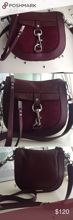 🌷Rebecca Minkoff Crossbody🌷 Stunning wine colored bag!!! Silver hardware, both pebbled and suede leather components. Dust bag included. Small pocket on the interior,  pocket on the front opens. Rebecca Minkoff Bags Crossbody Bags