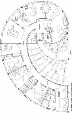 Plano de Casa Caracol de 4 Dormitorios | Planos de Casas Modernas, Pequeñas, Grandes, Rusticas, Minimalistas, etc... #cocinaspequeñasminimalistas