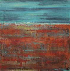 Abstract landscape rust and blue field and city by AquaGirlArt, $149.00