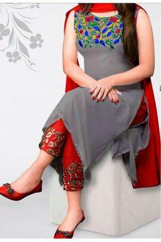 # georgette # salwar-kameez Gray Georgette Salwar Kameez 1103 1300 taka call 01798078368 Best Indian salwar kamees CLICK Visit link above for more infoAre you looking for the best quality Salwar suit and Latest Elegant Designer ladies Salwar suits th Pakistani Dresses, Indian Dresses, Indian Outfits, Kurta Designs Women, Blouse Designs, Dress Designs, Nice Dresses, Casual Dresses, Fashion Dresses