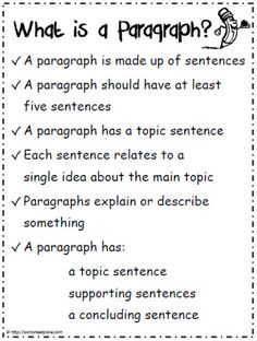 -WRITING PARAGRAPHS- FREE 10 Paragraph Writing Printables~ Resources include a paragraph poster, prompts, worksheets, and checklists. Writing Strategies, Writing Lessons, Writing Resources, Teaching Writing, Writing Skills, Writing Activities, Essay Writing, Writing Services, Writing Rubrics