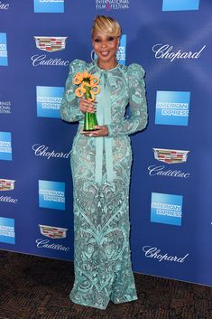 Mary J. Blige, winner of the Breakthrough Performance Award, in ELIE SAAB Ready-to-Wear at the 29th Annual Palm Springs International Film Festival Awards Gala in California.