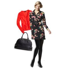 """Merona Floral Shirt Dress"" by wrymommy on Polyvore"