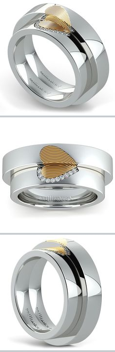 This matching wedding set includes 4.5 mm his and hers wedding bands in 950 Platinum with an 18k yellow gold fingerprint heart inlay. Ten round diamonds accent the women's band for one-tenth total weight.