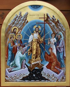 Icon of the Anastasis (aka Descent into Hades/Resurrection). Religious Images, Religious Icons, Religious Art, Byzantine Icons, Byzantine Art, Greek Icons, Christ Is Risen, Life Of Christ, Orthodox Icons