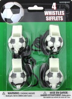 Soccer Football Plastic Sports Whistles Green Black White Party Favours - 4 Pack
