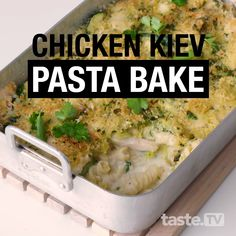 We've turned buttery and garlicky chicken kiev into a quick, easy and delicious pasta bake, and it's on the table in less than 40 minutes. Baked Pasta Recipes, Easy Chicken Dinner Recipes, Healthy Cooking, Cooking Recipes, Healthy Recipes, Main Meals, Pasta Dishes, Thanksgiving Recipes, Asian Recipes